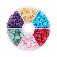 ARRICRAFT 1 Box (about 350pcs) 6 Assorted Chip Gemstone Crushed Chunked Crystal Pieces Irregular Shaped Loose Beads Value Pack