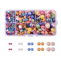 ARRICRAFT 1 Box (about 360pcs) Mixed Half Round/Dome Pearlized Glass Cabochons For Jewelry Making, 6~14x3~5.5mm