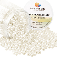 PandaHall Elite 4mm Anti-flash White Glass Pearls Tiny Satin Luster Round Loose Pearl Beads for Jewelry Making, about 1000pcs/box