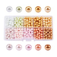 ARRICRAFT 1 Box (about 600pcs) 10 Color Mixed Style Glass Pearl Round Beads Assortment Lot for Jewelry Making, 6mm, Hole: 1mm - Mixed Color 4