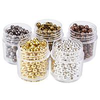 ARRICRAFT 5 Box 4mm Mixed Color Iron Round Spacer Beads (about 13g/box)