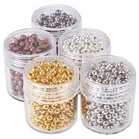 ARRICRAFT 5 Box 3mm Mixed Color Iron Round Spacer Beads (about 270pcs)