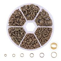 ARRICRAFT 1 Box Mixed Size Antique Bronze Split Iron Double Jump Rings, Nickel Free