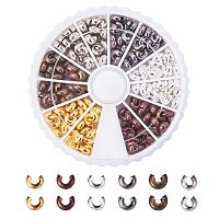 ARRICRAFT 1Box/250pcs 6 Colors 5mm Brass Half Round Open Crimp Beads Covers Knot Covers Beads End Tips for Jewelry Makings Antique Bronze & Red Copper & Black & Silver & Golden & Platinum Nickel Free