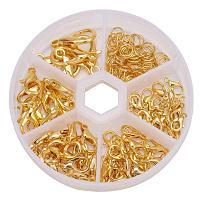 ARRICRAFT 1 Box Golden Alloy 70 pcs Mixed Size Lobster Claw Clasps + 40~50 pcs 6mm Open Jump Rings Value Pack Box Set Assortment