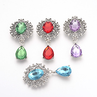 ARRICRAFT Alloy Flat Back Cabochons, with Acrylic Rhinestones, Oval and Teardrop, Antique Silver, Faceted, Mixed Color, 56x28x6mm, Pendant: 23x14x6mm