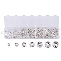 ARRICRAFT 6 Mixed Sizes Brass Crystal Rhinestone Spacer Beads Round Rondelle Charms Beads for Jewelry Making (about 120pcs)