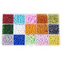ARRICRAFT 1 Box 15 Color 6/0 Glass Seed Beads Diameter 4mm Loose Beads, about 5850pcs/box