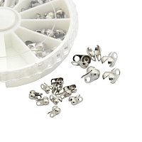 NBEADS 1 Box 100 PCS Stainless Steel Bead Tips, Clamshell Fold-over Bead Tips Knot Covers End Caps for Knots & Crimp Findings
