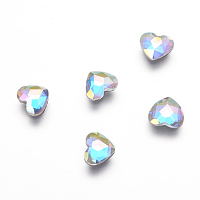 K9 Glass Hotfix Rhinestone, Flat Back & Faceted, Heart, Colorful, 5.5x6x2mm