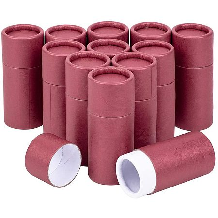 BENECREAT 12PCS 10ml Red Kraft Paperboard Tubes Round Kraft Paper Containers for Pencils Tea Caddy Coffee Cosmetic Crafts Gift Packaging
