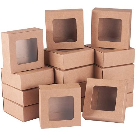BENECREAT 24 Packs Square Kraft Paper Drawer Boxes with Window 2.5x2.5x1.2 Paper Gift Boxes for Bakery Party Favor Treats Storage