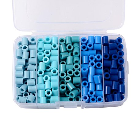 ARRICRAFT 1 Box(About 340pcs) 5 Colors Tube Melty Beads PE DIY Fuse Beads Refills Hama Beads for Kids Craft Making 8.5~9x9~9.5mm - Gradual Blue Color