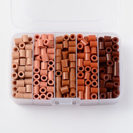 Melty Beads PE DIY Fuse Beads Refills for Kids, Tube, Gradual Saddle Brown Color, 8.5~9x9~9.5mm; about 68pcs/compartment, 340pcs/box