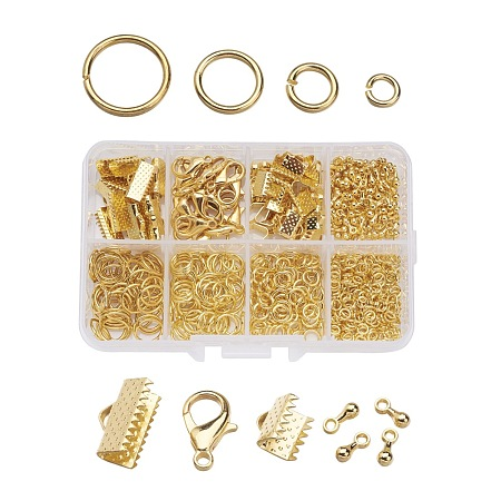ARRICRAFT 1Box Jewelry Findings 20PCS Alloy Lobster Claw Clasps, 45PCS Iron Ribbon Ends, 40g Brass Jump Rings, 10g Alloy Teardrop End Pieces, Golden, Lobster Clasps: 14x8mm, Hole: 1.8mm, Ribbon Ends: 8~13x6~7x5mm, Hole: 2mm, Jump Rings: 4~10mm, End Piece: 7x2.5mm, Hole: 1.5mm