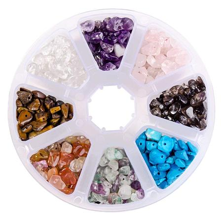 ARRICRAFT 1 Box (about 560pcs) 8 Assorted Chip Gemstone Crushed Chunked Crystal Pieces Irregular Shaped Loose Beads Value Pack
