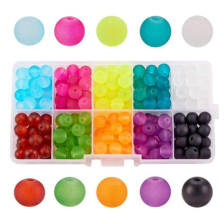 ARRICRAFT 1 Box (about 120pcs) 10 Color 10mm Round Transparent Frosted Glass Beads Assortment Lot for Jewelry Making