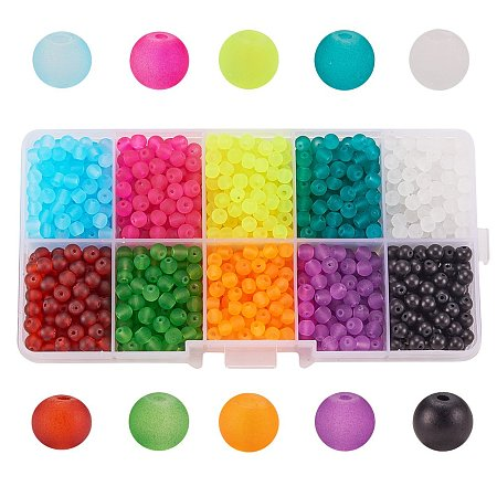 Arricraft 1 Box (about 1000 pcs) 10 Color 4mm Round Transparent Frosted Glass Beads Assortment Lot for Jewelry Making