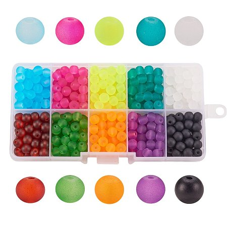 Arricraft 1 Box (About 400 pcs) 10 Color 6mm Round Transparent Frosted Glass Beads Assortment Lot for Jewelry Making
