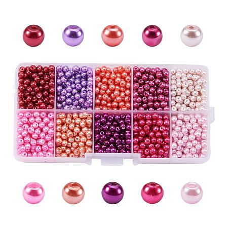 ARRICRAFT 1 Box (About 1500pcs) 10 Color Pink Theme Mixed Style Glass Pearl Round Beads Assortment Lot for Jewelry Making, 4mm, Hole: 1mm