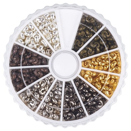 PandaHall Elite Mixed Color Iron Crimp Beads Covers for Jewelry Making Nickel Free, about 590pcs/box