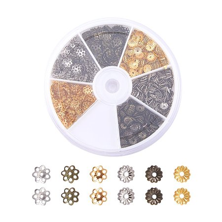 ARRICRAFT 1 Box (About 1200pcs) 3 Color Bead Caps for Jewelry Making, 5~6x1~1.5mm, Hole: 1mm