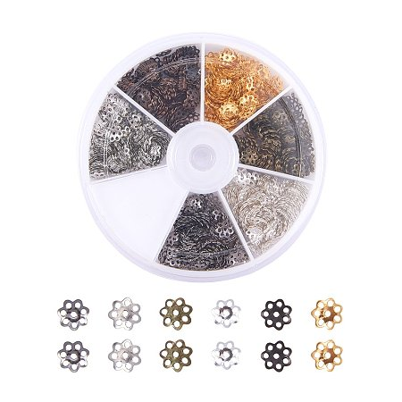 ARRICRAFT 1 Box (About 1200pcs) 6 Color Flower Iron Bead Caps for Jewelry Making, 6x1mm, Hole: 1mm
