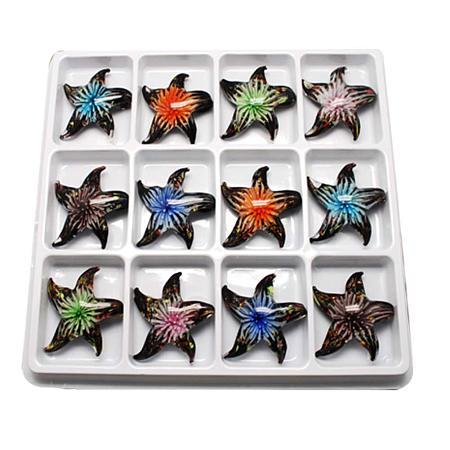 NBEADS 2 Boxes of Mixed Lots Handmade Gold Sand Lampwork Starfish Pendants, 12pcs/Box