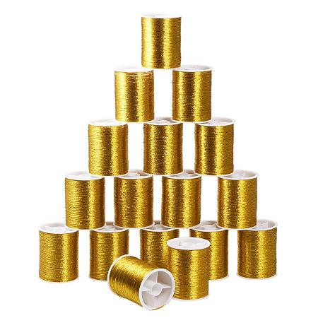 Pandahall Elite 20 Rolls 0.1mm Gold Thin Embroidery Thread Sewing Machine Thread Kit Spool for Embroidery and Decorative Sewing, 55m Per Roll