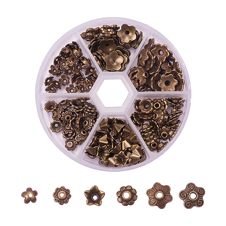 PandaHall Elite Antique Bronze Tibetan Style Alloy Flower Bead Caps for Jewelry Making, about 180pcs/box