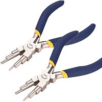 BENECREAT 2 Packs 6 in 1 Bail Making Pliers Wire Looping Forming Pliers with Non-Slip Comfort Grip Handle for 3mm to 9.5mm Loops and Jump Rings