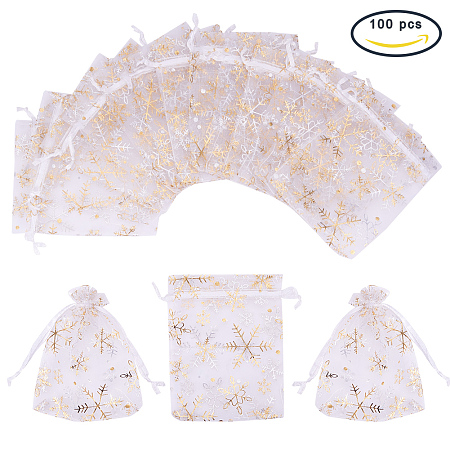 PandaHall Elite 100 PCS 4 x 4.7 Inches Golden Snowflake Printed Bags Jewelry Pouch Bags Organza Velvet Drawstring Pouches Wedding Favors Candy Bags, White