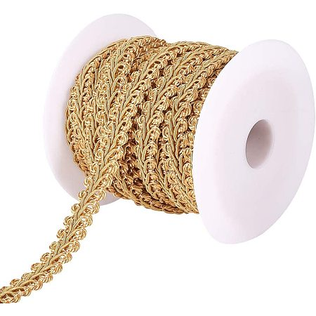 PandaHall 14 Yards 14mm Polyester Woven Gimp Braid Trim for Costume DIY Crafts Sewing Jewelry Making, Goldenrod