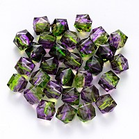 Arricraft Transparent Spray Painted Crackle Acrylic Beads, Two Tone, Polygon, Lilac, 7.5x8x8mm, Hole: 1.8mm; 100pcs/bag