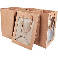 BENECREAT 10 Packs Brown Kraft Paper Gift Bags with Window 10x7x5 Paper Shopping Bags Retail Bags for Party Favor Storage, Flower Stroage, Food Storage and More
