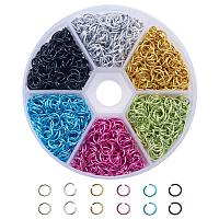 ARRICRAFT 1 Box (about 1080PCS) Colorful Aluminum Wire Open Jump Rings for jewelry Making Accessories 6x0.8mm