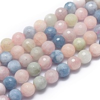 Arricraft Natural Morganite Beads Strands, Faceted, Round, 8mm, Hole: 1mm; about 49pcs/strand, 15.7 inches(40cm)