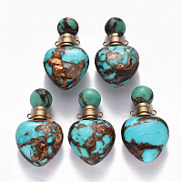 Heart Assembled Natural Bronzite and Synthetic Turquoise Openable Perfume Bottle Pendants, with Brass Findings, Dyed, Golden, Capacity: 1ml(0.03 fl. oz); 37.5~38.5x22x13mm, Hole: 1.8mm