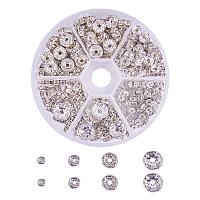 PandaHall Elite About 160 Pcs Diameter 4-10mm Brass Crystal Rondelle Rhinestone Spacer Beads for Jewelry Making Silver