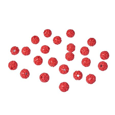 NBEADS 100Pcs 8mm Red Cinnabar Beads, Round Flower Bud Loose Beads Charms Beads fit Bracelets Necklace Jewelry Making