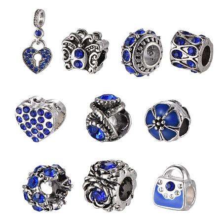 Mixed Shapes Alloy Glass Rhinestone European Beads, Sapphire, 10~26x9~12x1~10.5mm, Hole: 4.5~5mm; 10pcs/set