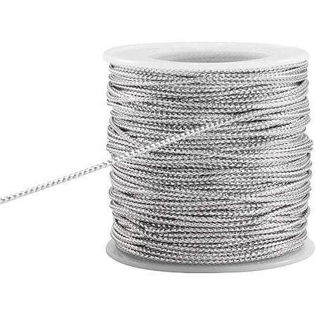 PandaHall Elite 50 Yards 2mm Metallic Cord Silver Braided Metallic Beading Cords Metallic Tinsel Cord Tinsel String for Gift Wrap Ribbon Craft Making