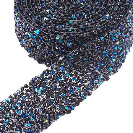 BENECREAT 2 Yard 3cm Width Crystal Rhinestone Ribbon Hot Fix Glitter Dress Diamond Ribbon Mesh Wrap Roll with 3mm Rhinestones for Trimming Cloth Bags Decoration, Black and Blue