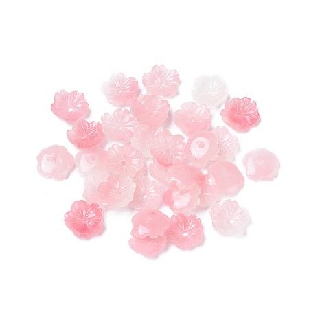 Nbeads Shell Powder Beads, Flower, Pink, 10x2.5mm, Hole: 1.2mm