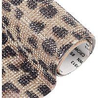 "BENECREAT 9.4x7.8"" Leopard Print Pattern Hotfix Rhinestone Sheet Crystal Diamond Mesh Banding Beaded Applique for Decorating Bags, Shoes, Costumes"