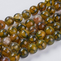"""NBEADS Natural Dragon Veins Agate Beads Strands, Dyed, Round, Olive, 10mm, Hole: 1mm, about 19pcs/strand, 7.5"""""""