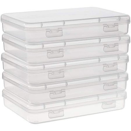 BENECREAT 5 Packs 6x4.3x1 Rectangle Large Clear Plastic Box Containers with Double Buckles for Cards, Safety Pins, Beads and Other Craft Office Supplies