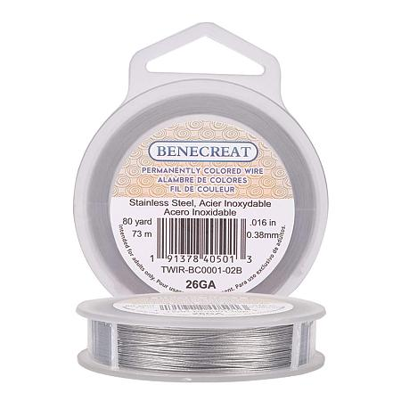 BENECREAT 240-Feet 0.015inch (0.38mm) 7-Strand Bead String Wire Nylon Coated Stainless Steel Wire for Necklace Bracelet Beading Craft Work