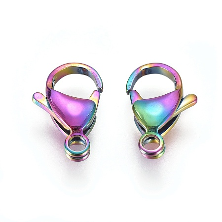 PandaHall Elite Vacuum Plating 304 Stainless Steel Lobster Claw Clasps, Rainbow, Multi-color, 15x10x4mm, Hole: 2.2mm
