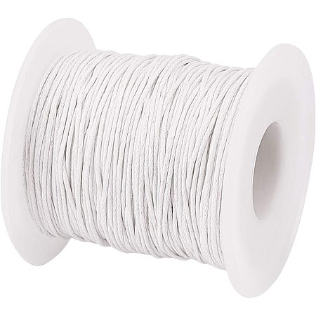 PandaHall Elite 76 Yards 1mm Waxed Cotton Cord Thread Beading String for Bracelet Necklace Jewelry Making and Macrame Supplies, White